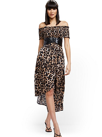Leopard-Print Off-The-Shoulder Hi-Lo Wrap Maxi Dress - New York & Company