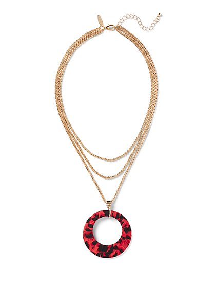Leopard-Print Pendant Necklace - New York & Company
