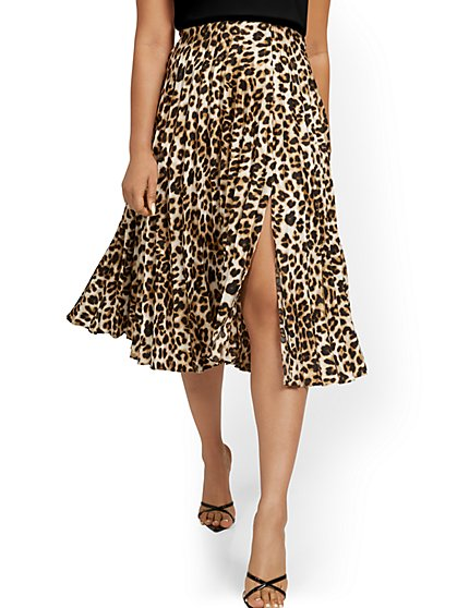Leopard-Print Pleated Skirt - New York & Company