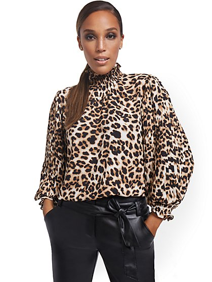 Leopard-Print Pleated-Sleeve Blouse - New York & Company