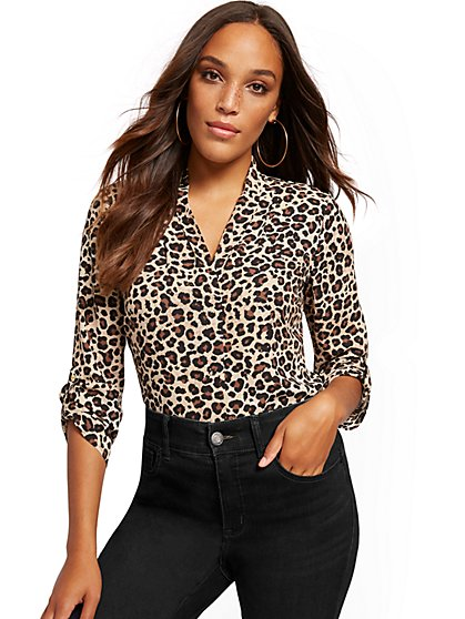 Leopard-Print Pleated V-Neck Blouse - New York & Company