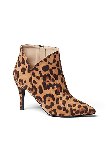 Leopard-Print Pointed-Toe Bootie - New York & Company