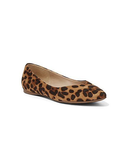 Leopard-Print Pointed-Toe Flat - New York & Company