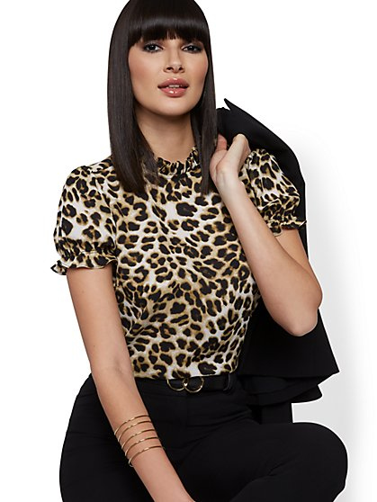 Leopard-Print Puff-Sleeve Blouse - 7th Avenue - New York & Company