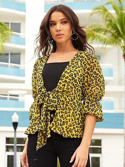 Leopard-Print Puff-Sleeve Blouse - Sweet Pea - New York & Company