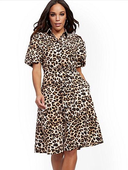 Leopard-Print Puff-Sleeve Shirtdress - New York & Company