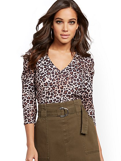 Leopard-Print Puff-Sleeve Top - New York & Company