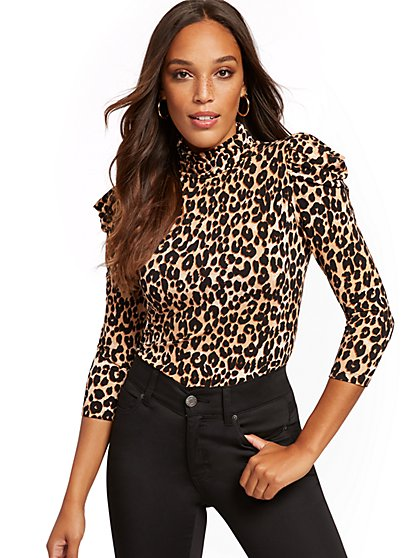 Leopard-Print Puffed-Sleeve Turtleneck Top - New York & Company
