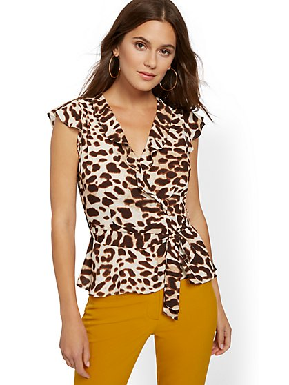 Leopard-Print Ruffle Wrap Blouse - 7th Avenue - New York & Company