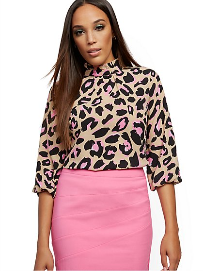 Leopard-Print Ruffled Mock-Neck Blouse - New York & Company