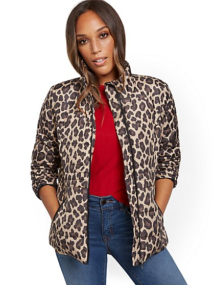 Leopard-Print Seamed Puffer Jacket - New York & Company