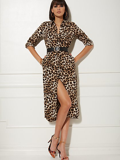 Leopard-Print Shirtdress - New York & Company