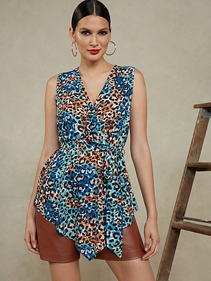 Leopard-Print Sleeveless Asymmetrical Top - New York & Company