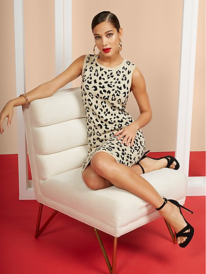 Leopard-Print Sleeveless Sweater Dress - New York & Company