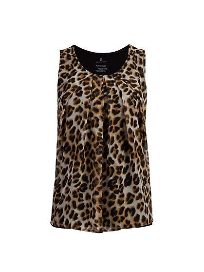 Leopard-Print Sleeveless Top - New York & Company