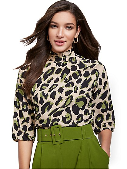 Leopard-Print Smocked Blouse - New York & Company