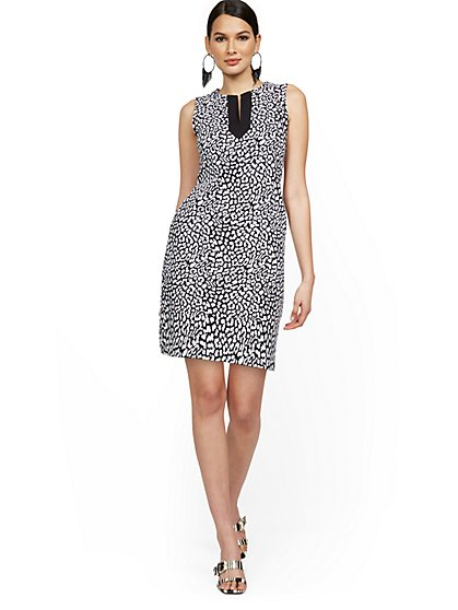 Leopard-Print Split-Neck Shift Dress - City Knits - New York & Company