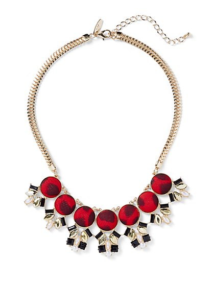 Leopard-Print Statement Necklace - New York & Company