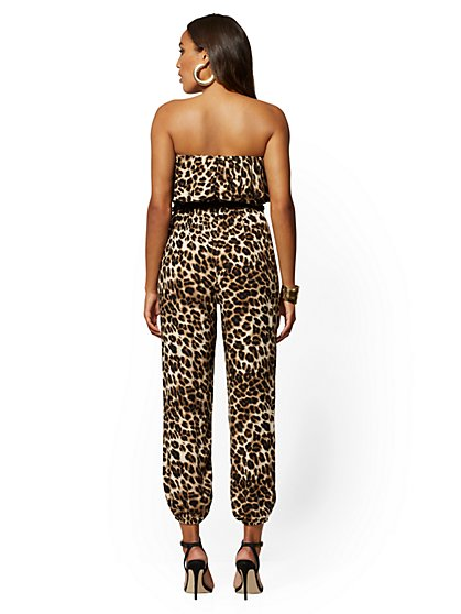 5b2d8ab73ebc ... Leopard-Print Strapless Jumpsuit - New York & Company ...