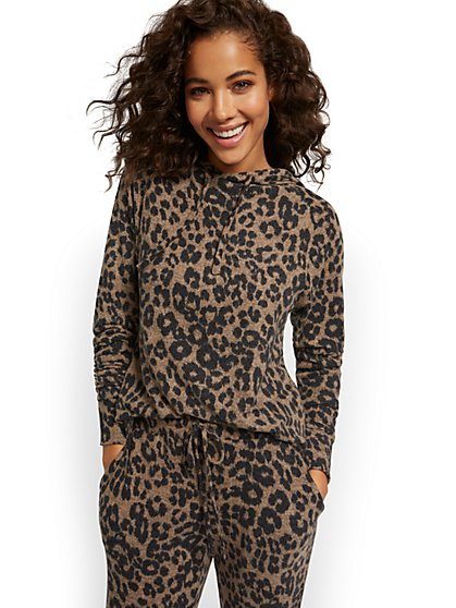 Leopard-Print Super-Soft Knit Hooded Sweatshirt - New York & Company