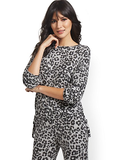 Leopard-Print Super-Soft Knit Pullover - New York & Company
