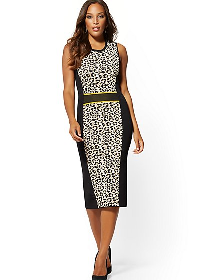 ab72081e9 Leopard-Print Sweater Sheath Dress - New York & Company ...