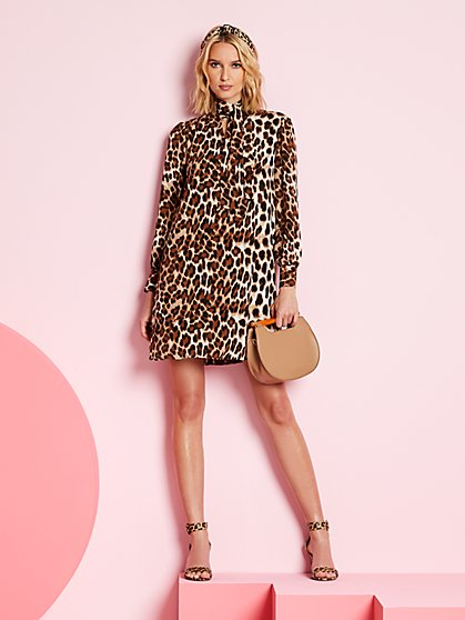 Leopard-Print Swing Dress - New York & Company