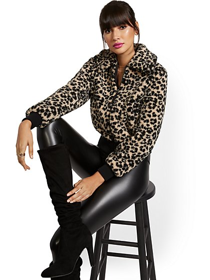 Leopard-Print Teddy Bomber Jacket - New York & Company