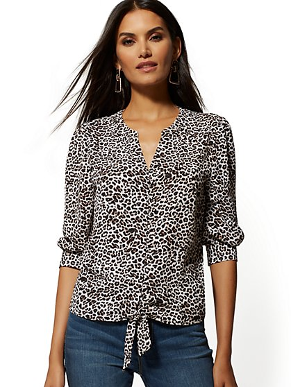 Leopard-Print Tie-Front Blouse - Soho Soft Blouse - New York & Company
