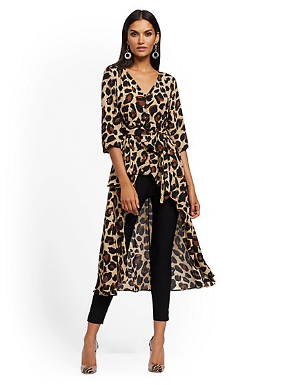 Leopard-Print Tie-Front Hi-Lo Blouse - New York & Company