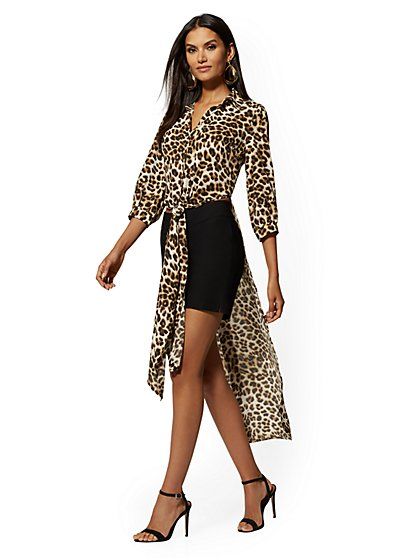 Leopard-Print Tie-Front Hi-Lo Shirt - 7th Avenue - New York & Company