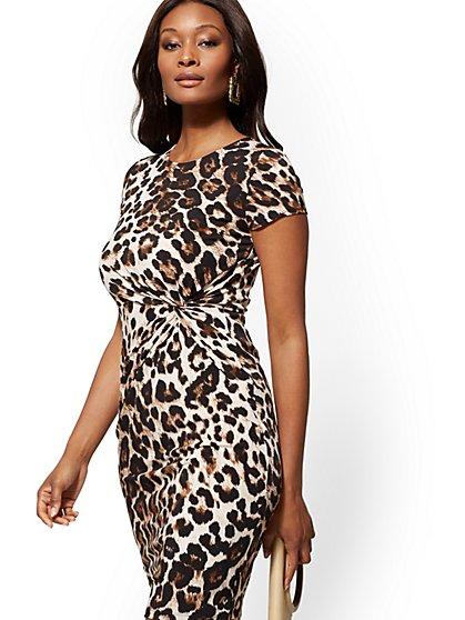 fdb68672e Leopard-Print Twist-Detail Sheath Dress - New York   Company ...