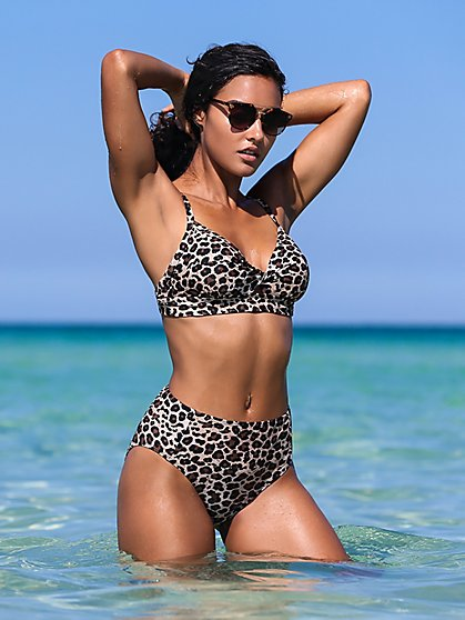 Leopard-Print Twist-Front Bikini Top - NY&C Swimwear - New York & Company