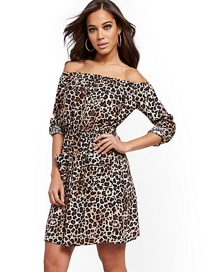Leopard-Print Utilty Shirtdress - New York & Company