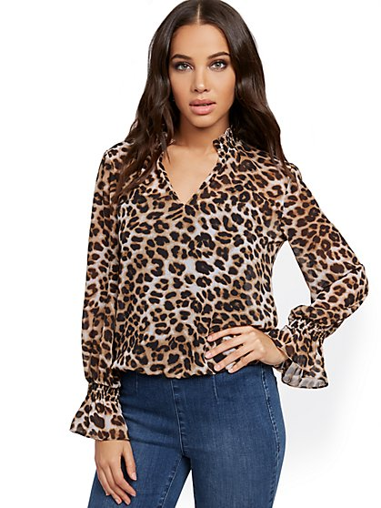 Leopard-Print V-Neck Blouse - New York & Company
