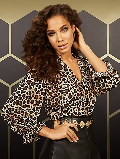Leopard-Print V-Neck Ruffled-Sleeve Blouse - New York & Company