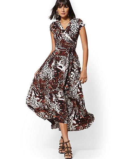 Leopard-Print Wrap Maxi Dress - New York & Company