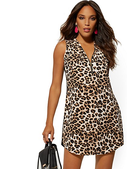 5a37f188 Leopard-Print Zip-Front Shirt Dress - New York & Company ...