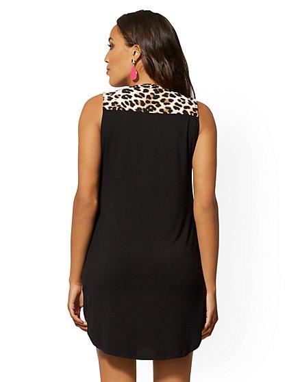 73c6b01f86530 ... Leopard-Print Zip-Front Shirt Dress - New York & Company