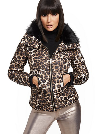 Leopard Printed Faux-Fur Collar Jacket - New York & Company