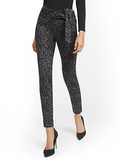 Leopard Pull-On Slim-Leg Pant - Superflex - New York & Company