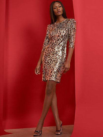 Leopard Sequin Open-Back Sheath Dress - New York & Company