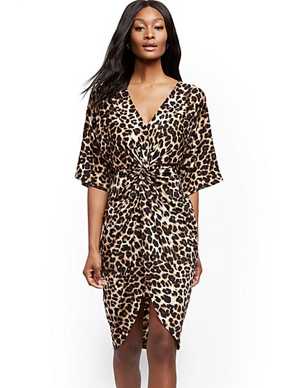 Leopard Twist-Front Dress - New York & Company