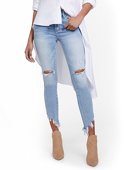 Lexi High-Waisted Distressed Super-Skinny Ankle Jeans - New York & Company