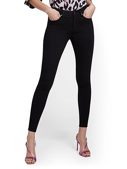 Lexi High-Waisted Super-Skinny Ankle Jeans - Black Wash - New York & Company