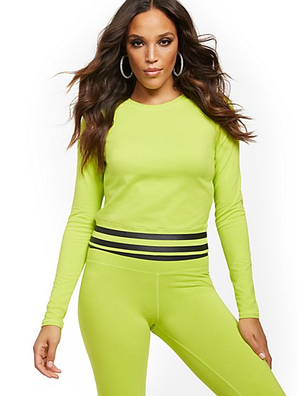 Lime Green Scoopneck Top - New York & Company