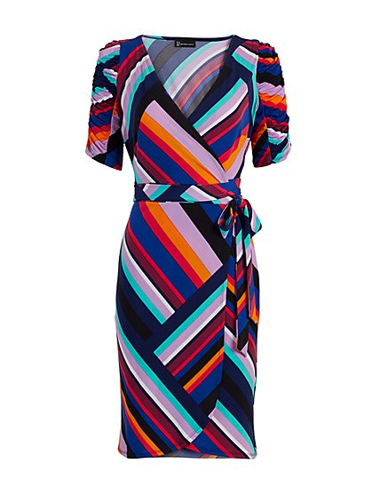 Linear-Print Knit Wrap Dress - New York & Company