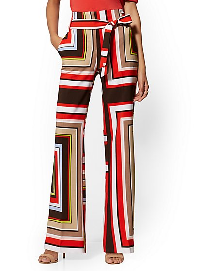 Linear-Print Palazzo Pant - 7th Avenue - New York & Company