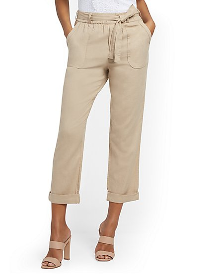 Linen Belted Boyfriend Pant - New York & Company