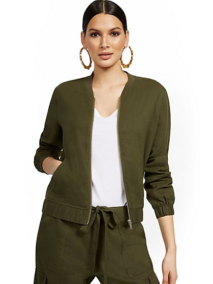 Linen-Blend Bomber Jacket - New York & Company